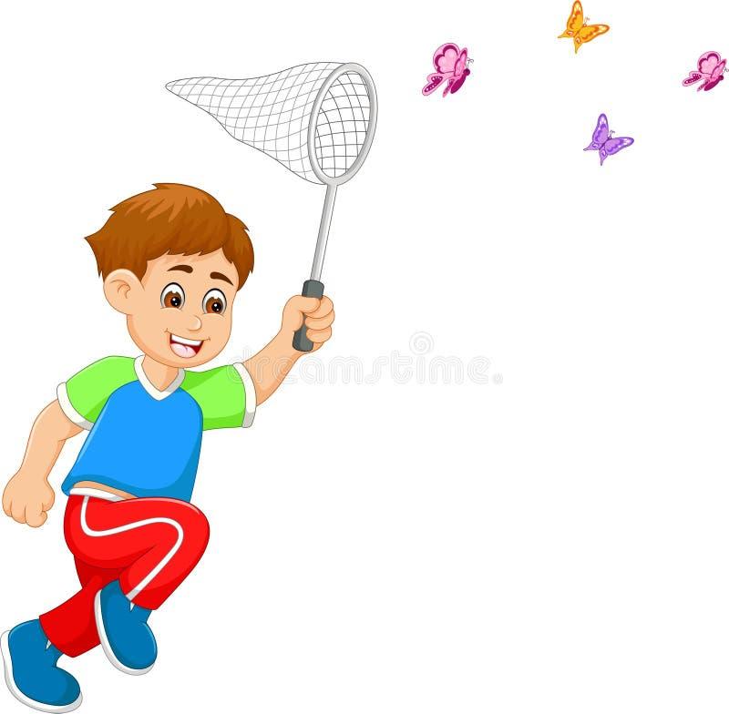 Papillon mignon de cathédrale de bande dessinée de garçon avec bonheur couru illustration stock