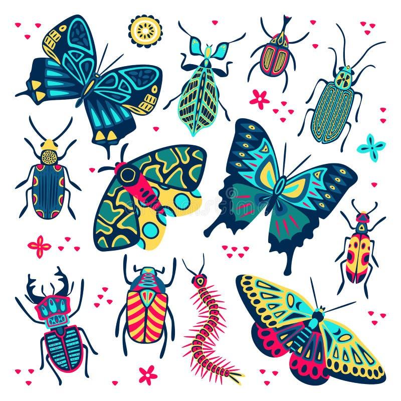 Papillon multicolore, coléoptères et buissons éclatants Illustration de la bande dessinée vectorielle plate Collection d'insectes illustration stock