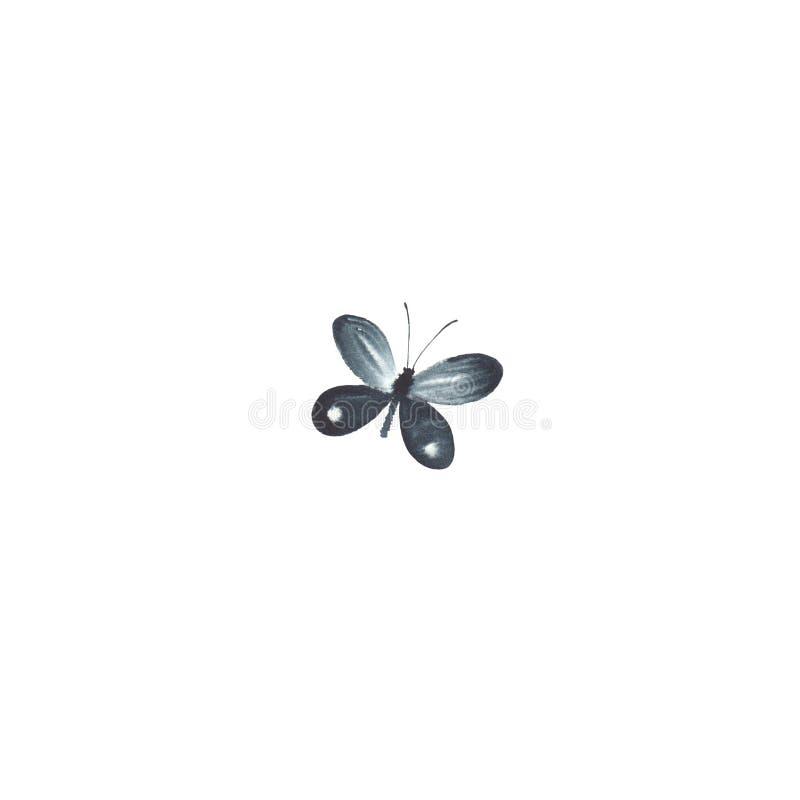 Papillon noir d'aquarelle d'isolement sur le fond blanc photo stock
