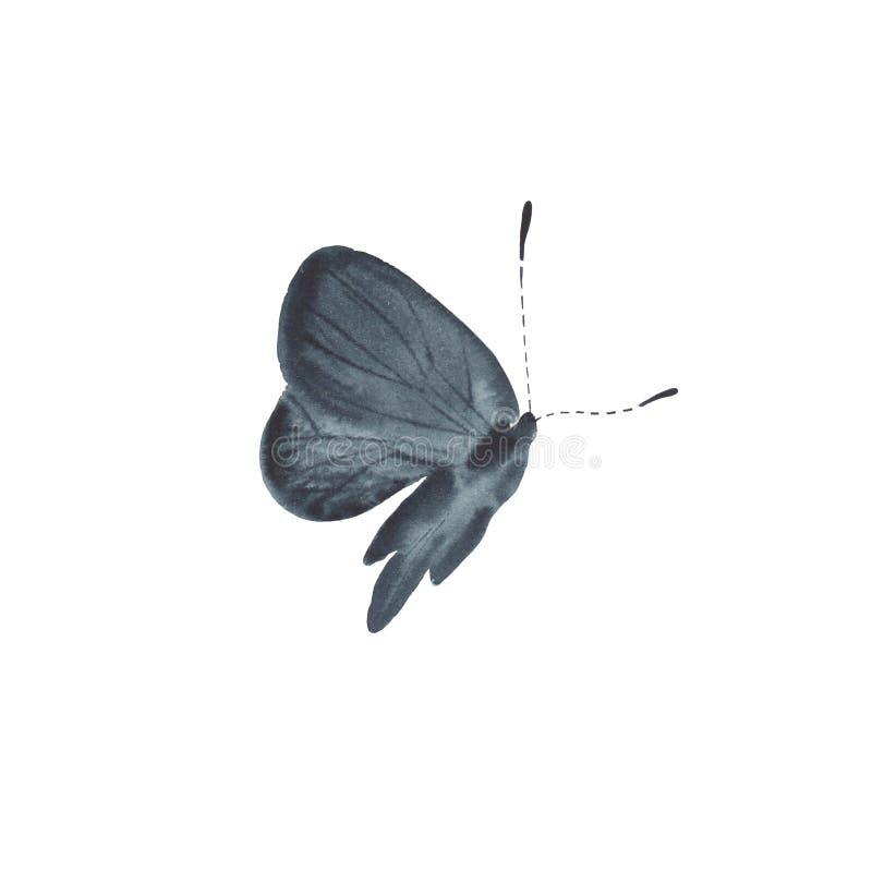 Papillon noir d'aquarelle d'isolement sur le fond blanc photos libres de droits