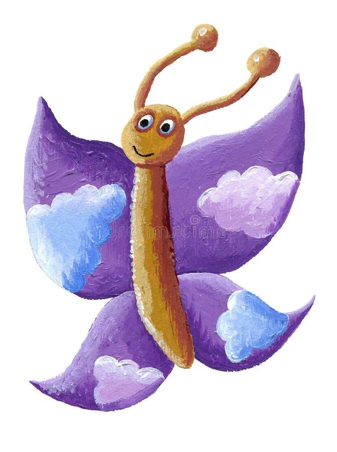 Papillon pourpre mignon avec des nuages illustration libre de droits
