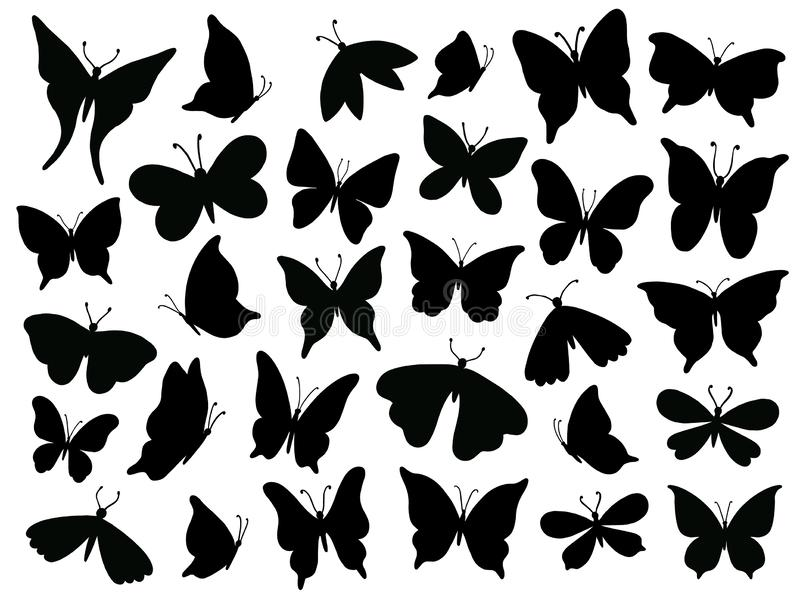 Papillon silhouette. Mariposa butterfly wing, moth wings silhouettes and spring flower butterflies isolated vector. Papillon silhouette. Mariposa butterfly wing stock illustration