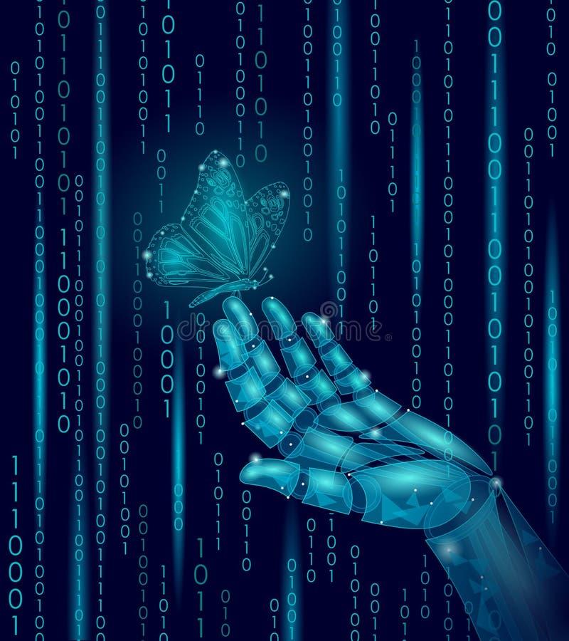 Papillon sur la main mécanique de doigt de robot Concept futurustic de contraste de nature de technologie géométrique polygonale  illustration stock