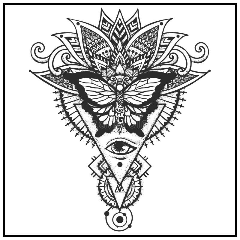 Papillon sur les feuilles ethniques illustration de vecteur