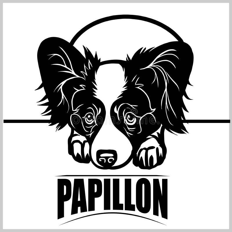 Papillon - T恤杉、商标和模板徽章的传染媒介例证 库存例证