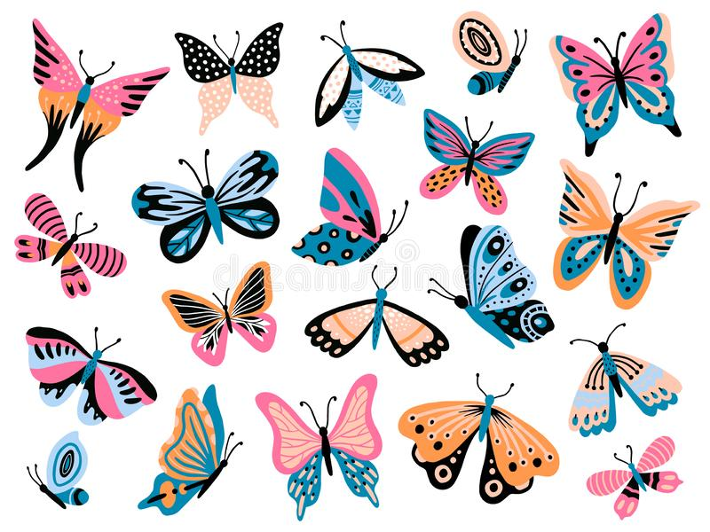Papillon tiré par la main Papillons de fleur, ailes de mite et collection d'isolement colorée insecte vecteur de vol de ressort illustration de vecteur