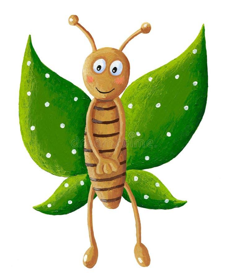 Papillon vert mignon illustration de vecteur