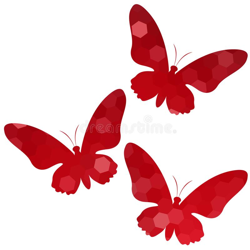 Papillons abstraits, illustration de vecteur Placez des papillons rouges sur le fond blanc illustration de vecteur