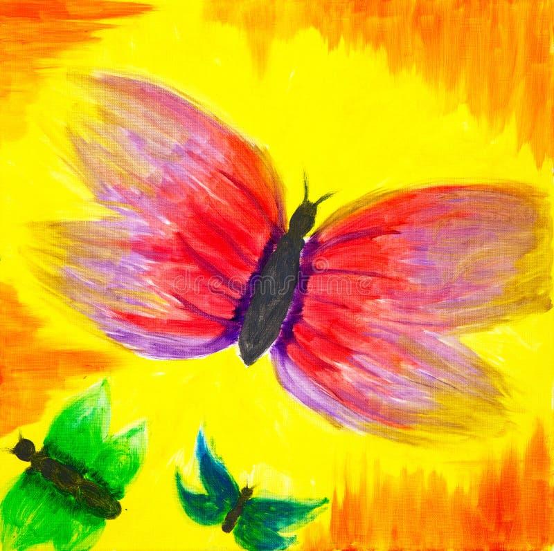Papillons abstraits sur le coucher du soleil illustration de vecteur