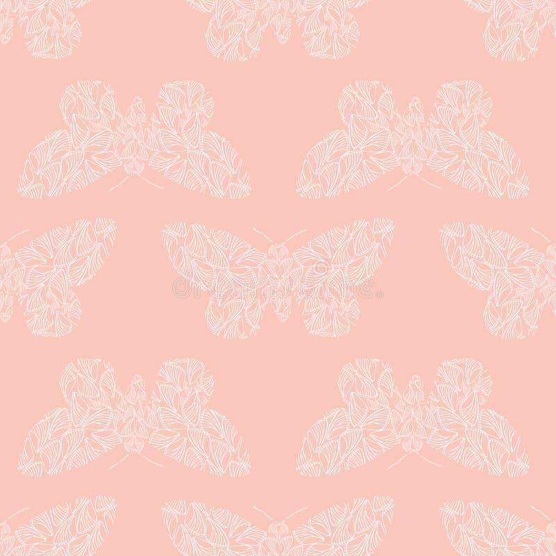 Papillons blancs de style sensible de pochoir faits à partir des formes d'aile Modèle géométrique sans couture de vecteur sur le  illustration de vecteur