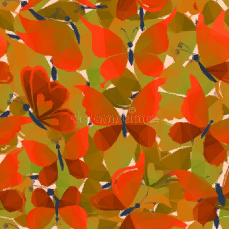 Papillons colorés, Bas-poly modèle illustration stock