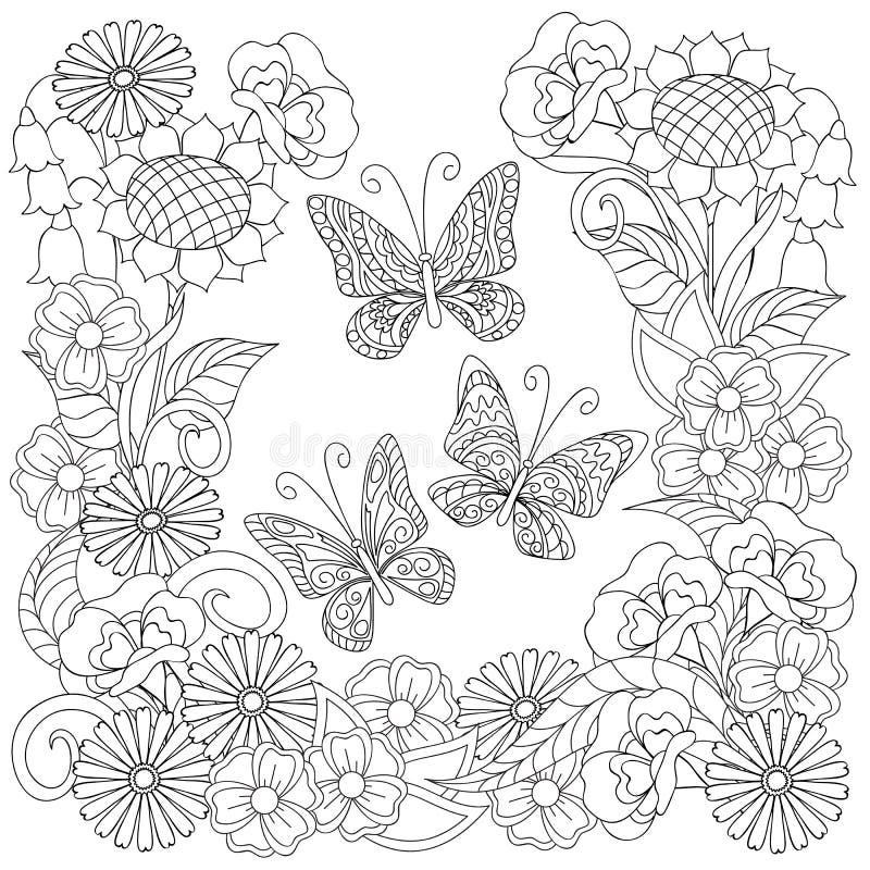 Papillons décorés tirés par la main dans le cercle dans le style ethnique illustration libre de droits