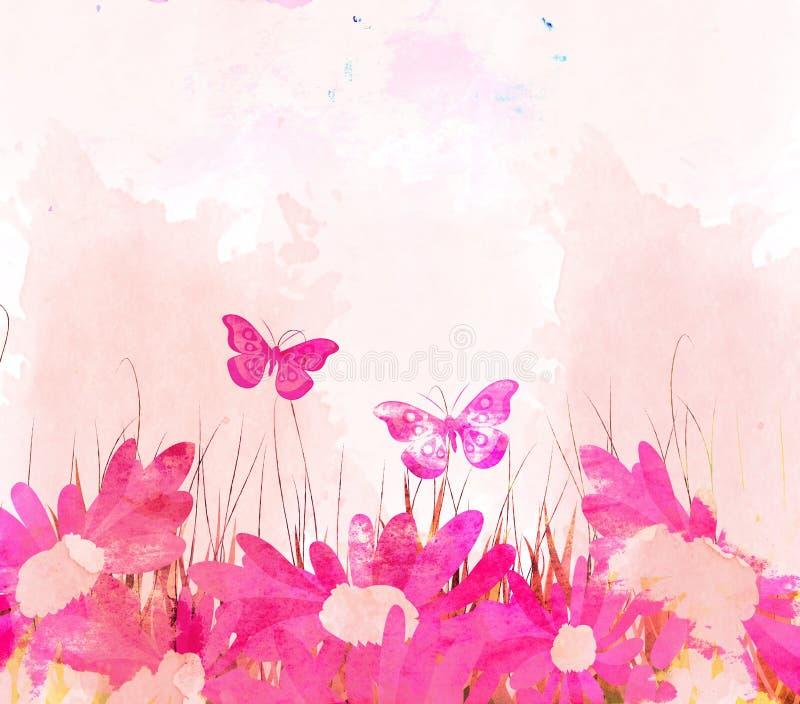 papillons d'aquarelle et fond de fleur illustration stock