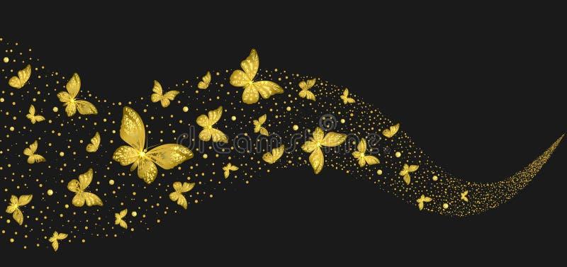 Papillons d'or décoratifs dans le courant illustration stock