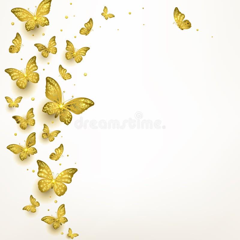 Papillons d'or décoratifs en troupeau illustration stock