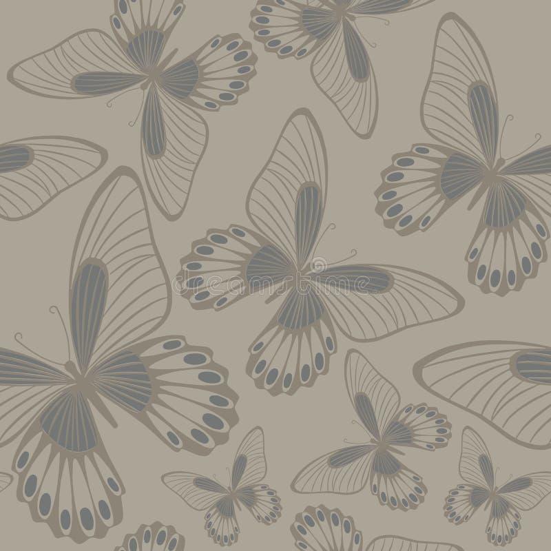 Papillons dans le modèle sans couture de Backround de neutres illustration de vecteur