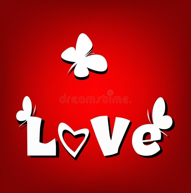 Papillons de carte d'amour de Valentine  illustration de vecteur