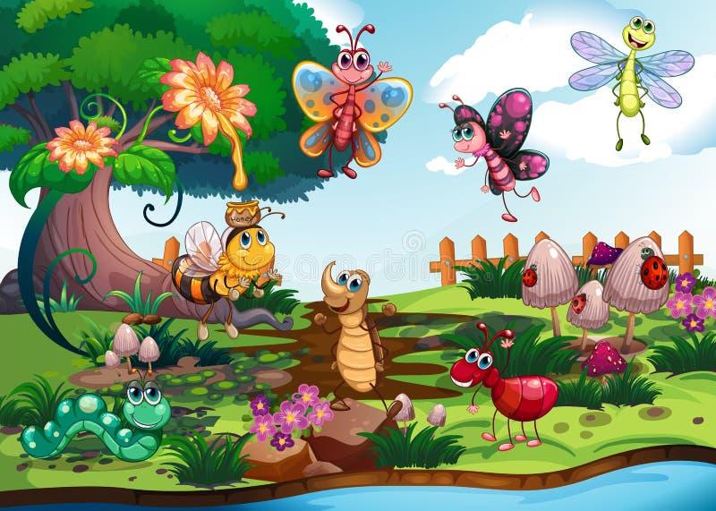 Papillons et insectes dans le jardin illustration stock