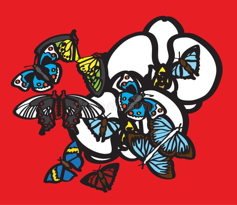 Papillons et orchidées blanches photos libres de droits