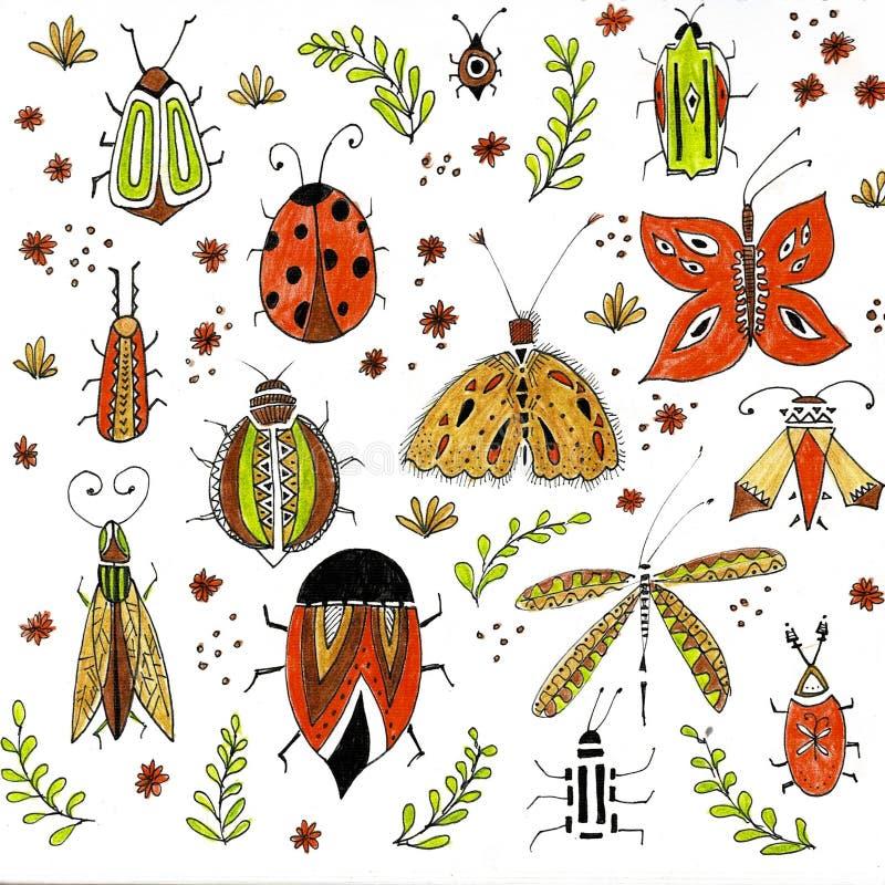 Papillons lumineux volants, insectes dans la forêt, scarabées naturels, petits animaux, faune en parc Objets d'isolement photographie stock