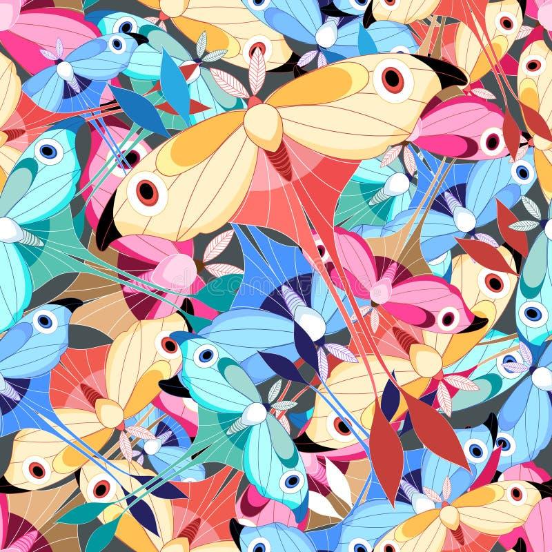 Papillons multicolores de modèle illustration libre de droits
