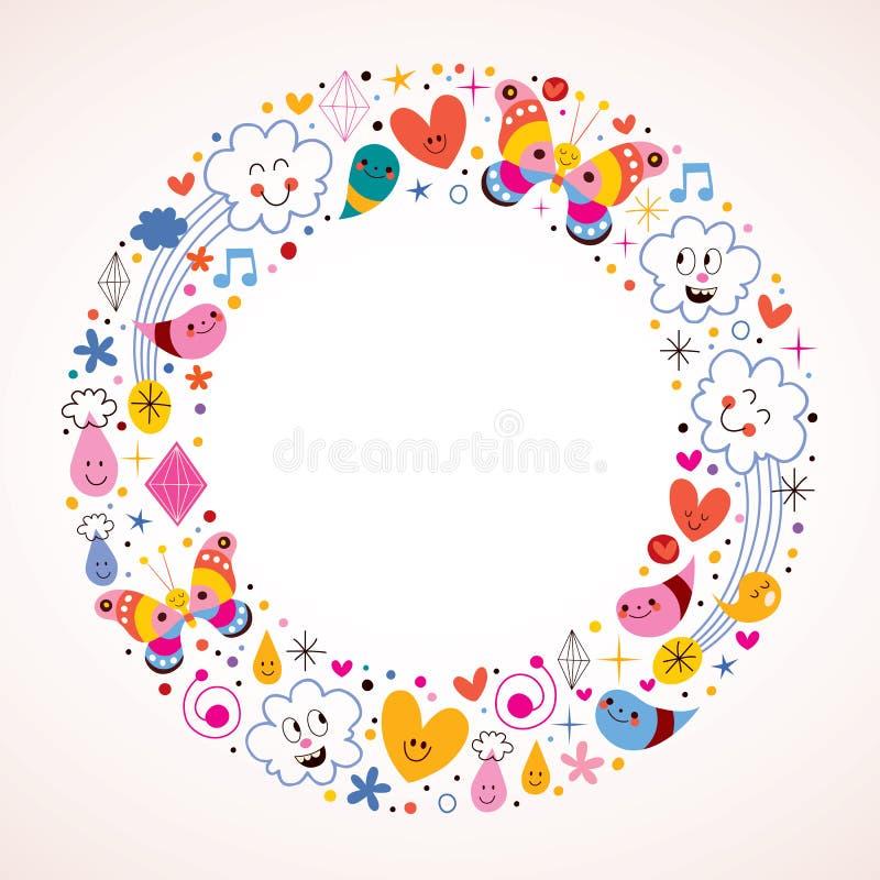 Papillons, nuages, fleurs, diamants, cadre de cercle de bande dessinée de gouttes de pluie illustration libre de droits