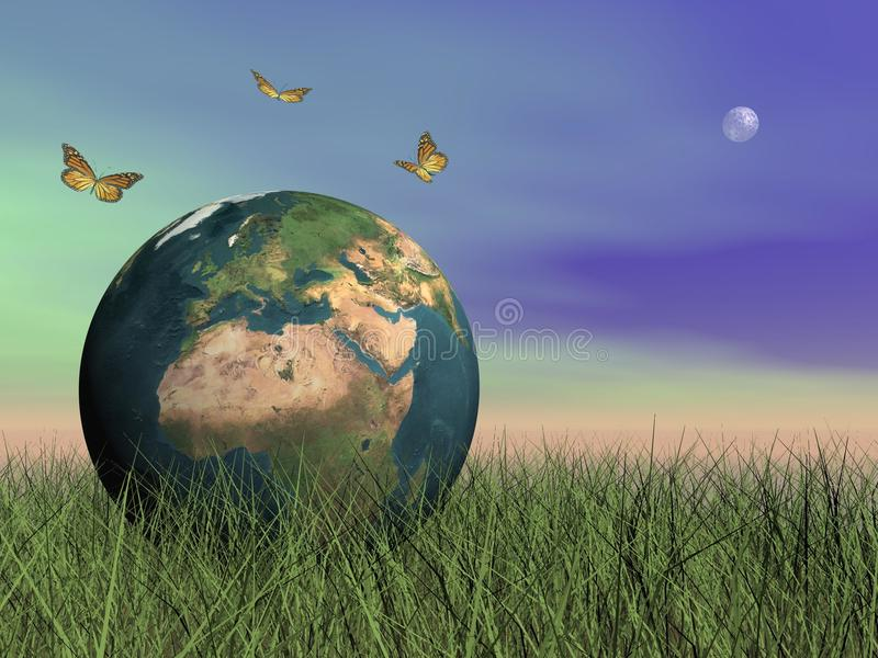 Papillons protégeant la terre - 3D rendent illustration libre de droits