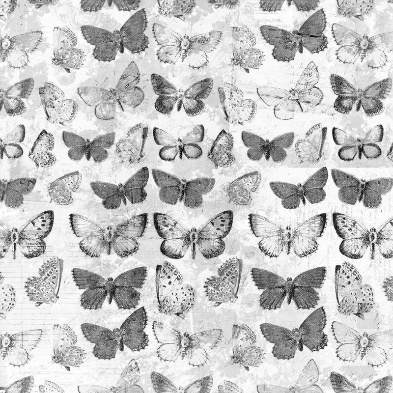 Papillons sales antiques au-dessus du fond français de collage de facture désaturé photo libre de droits