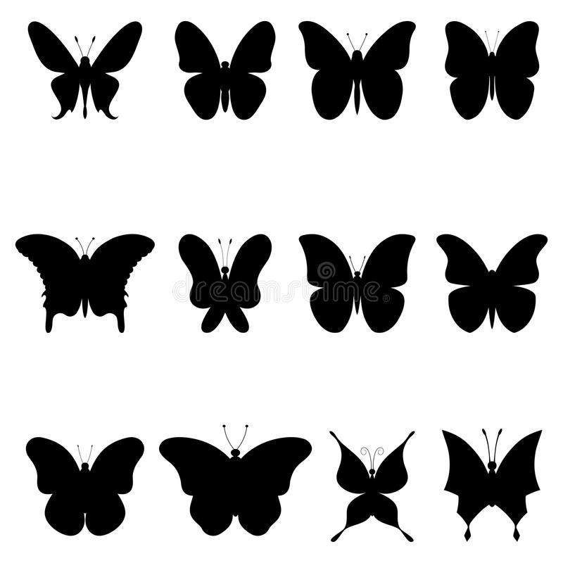 Papillons, silhouettes noires illustration stock