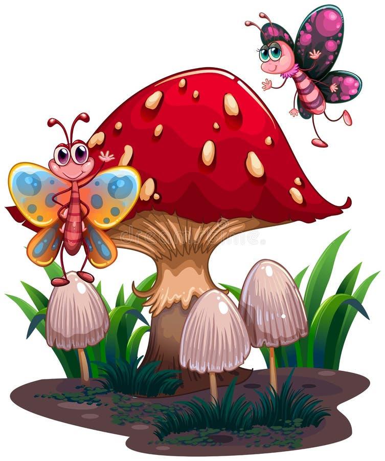Papillons volant près d'un champignon géant illustration stock