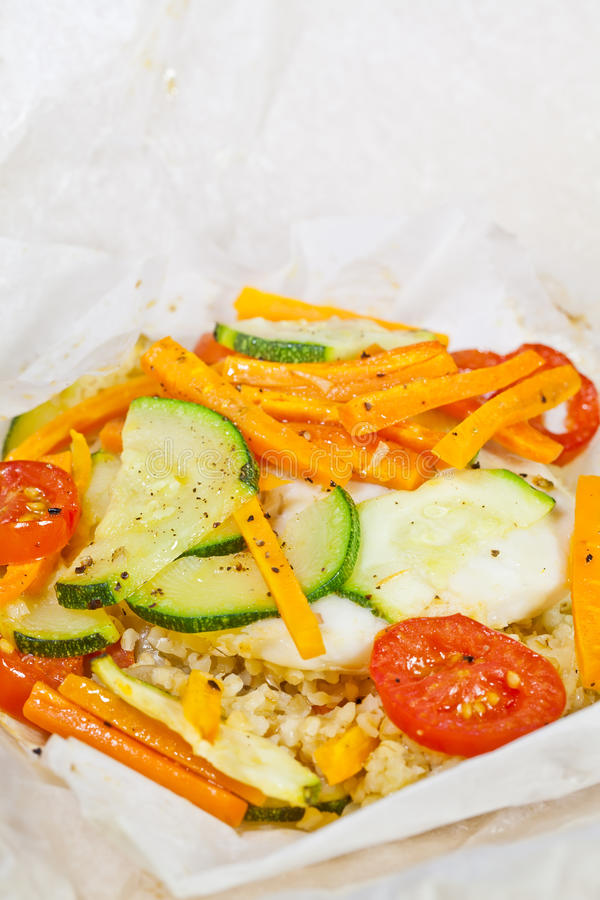 Download Papillote - Hake Fish Prepared In Parchment Paper Stock Photo - Image: 25332972