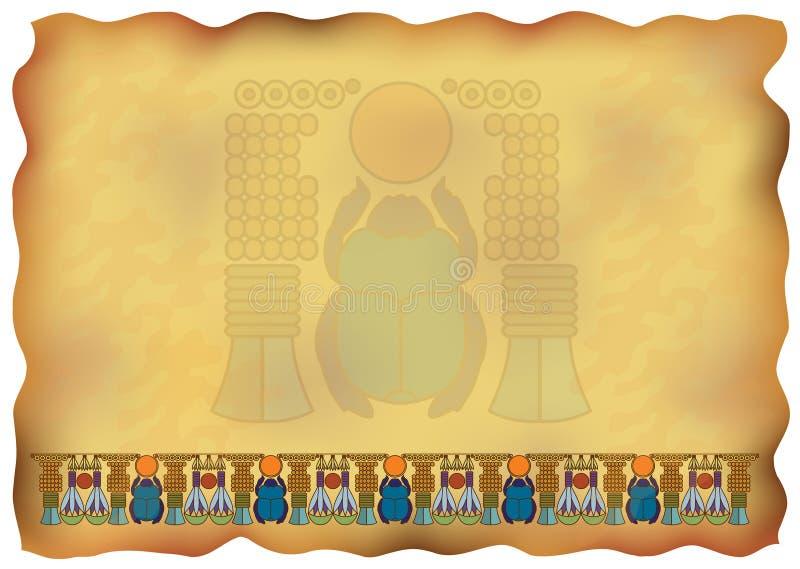 Papiro egípcio com ornamento e scarab. ilustração royalty free