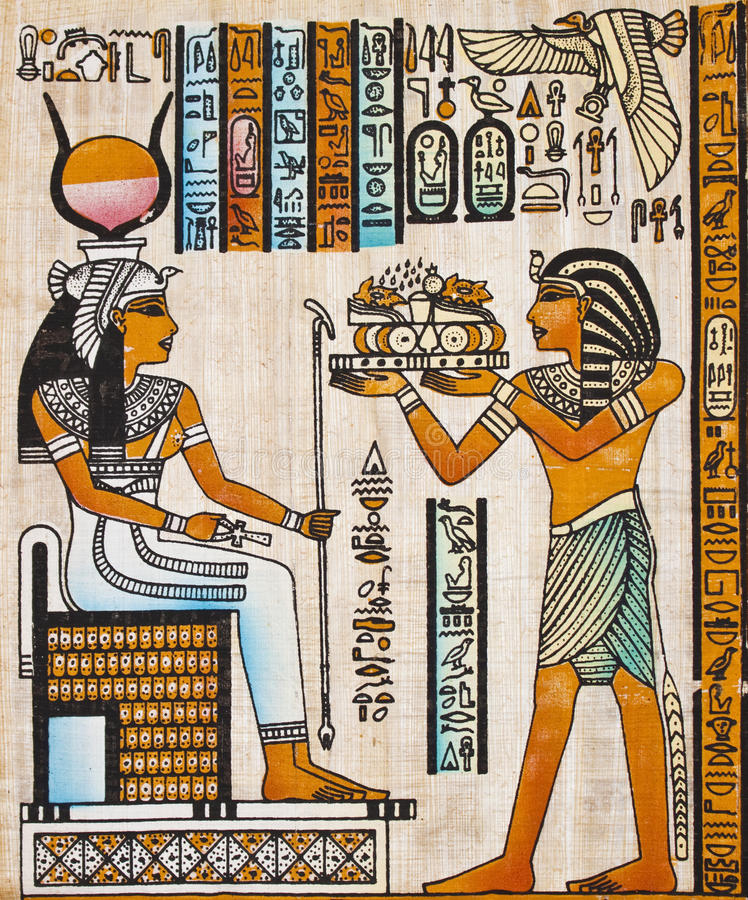 Papiro egípcio velho foto de stock