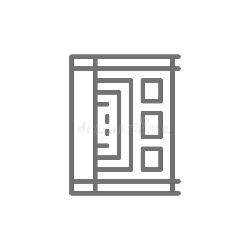 Papiro egipcio antiguo, línea icono del pergamino stock de ilustración
