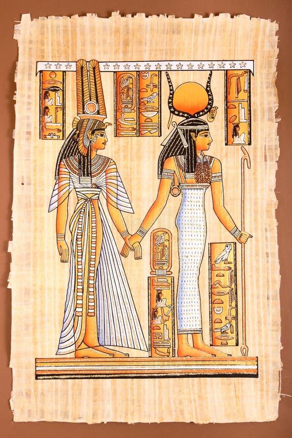 Papiro egipcio antiguo - reina egipcia Cleopatra fotos de archivo