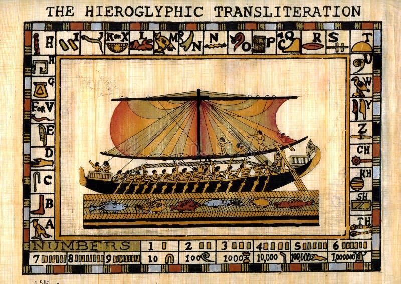 Papiro egiziano. Nave fotografia stock libera da diritti