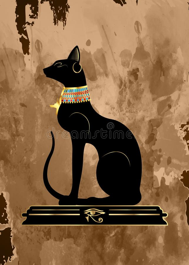 Papiro velho com o gato egípcio preto Bastet, deusa de Egito antigo, perfil com a joia Pharaonic do ouro, vetor da estátua isolad ilustração royalty free