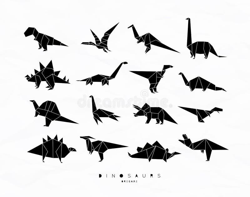Papiroflexia de Dinosaurus fijada negra stock de ilustración