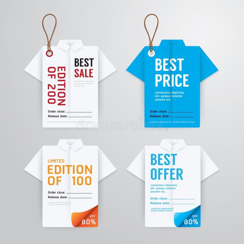 Papiroflexia de la camisa de la plantilla de la tarjeta de papel del precio de las banderas de la venta ilustración del vector