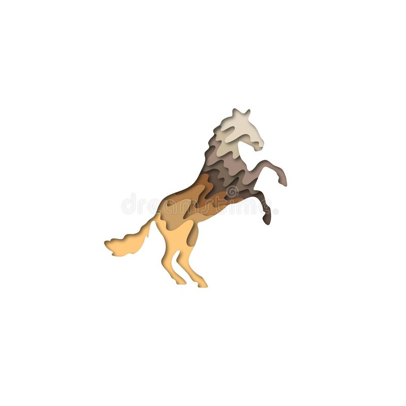 Papiroflexia de la forma 3D del caballo del corte del papel Diseño de moda de la moda del concepto Ilustración del vector ilustración del vector