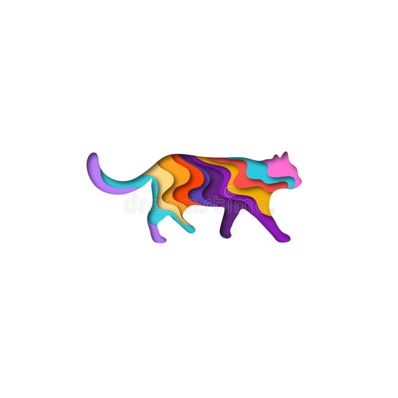 Papiroflexia de la forma 3D del gato del corte del papel Diseño de moda de la moda del concepto Ilustración del vector stock de ilustración