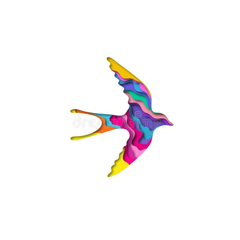Papiroflexia de la forma 3D del trago del corte del papel Diseño de concepto de moda Ilustración del vector stock de ilustración