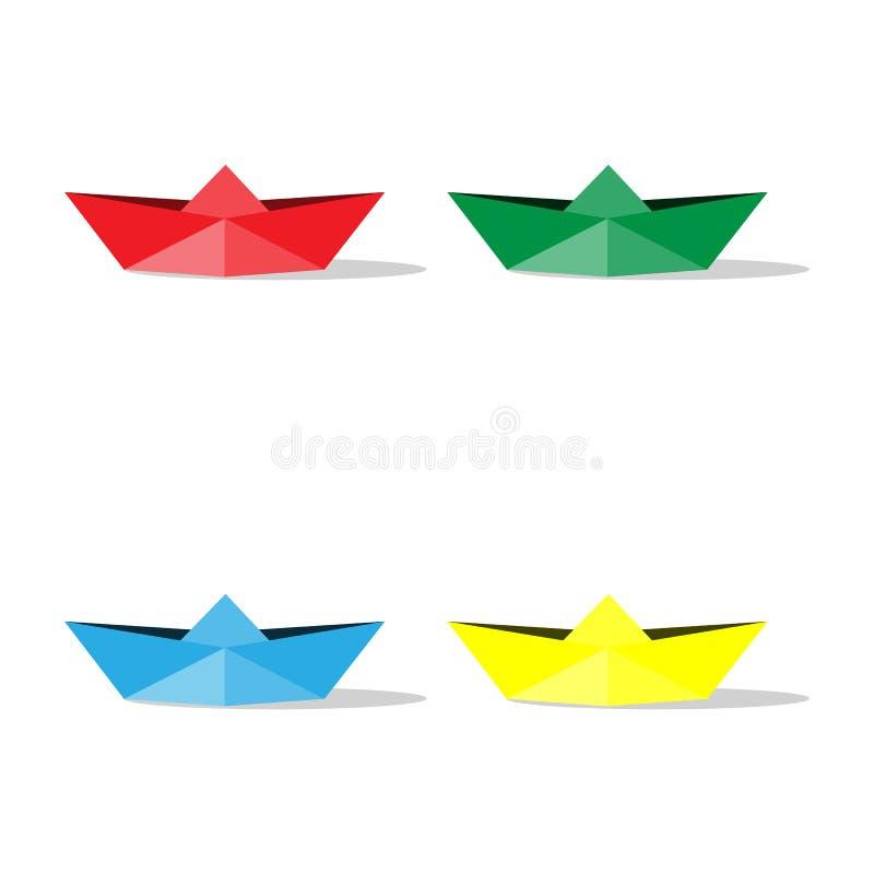 Papiroflexia de los barcos del color de papel aislada en el fondo blanco Elemento del diseño del ejemplo del vector Rojo, amarill stock de ilustración