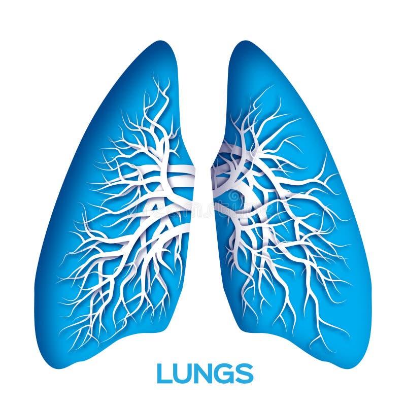 Papiroflexia de los pulmones ilustración del vector