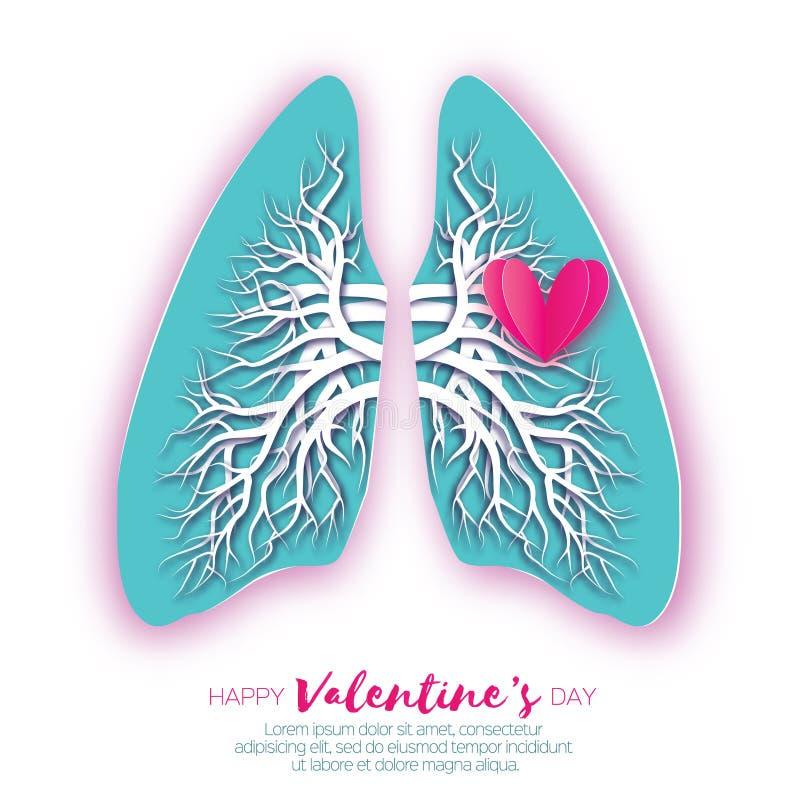 Papiroflexia de los pulmones Corazones rojos El papel azul cortó la anatomía humana de los pulmones con el árbol bronquial Día de stock de ilustración
