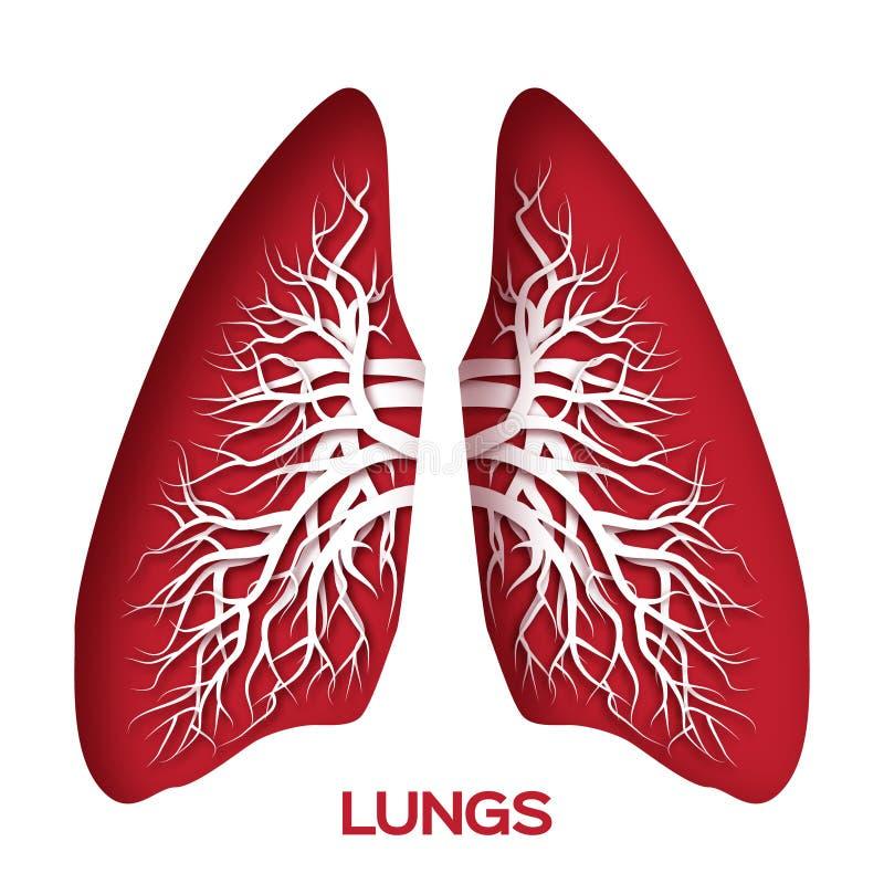 Papiroflexia de los pulmones Rojo ilustración del vector