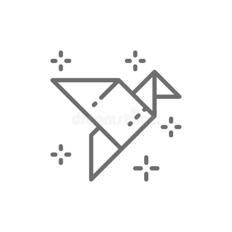 Papiroflexia pájaro, uso del papel, línea icono de la grúa ilustración del vector