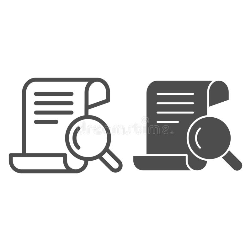 Papirusowa rewizji linia i glif ikona Manuskryptu i magnifier wektorowa ilustracja odizolowywająca na bielu Rewizji pismo ilustracja wektor