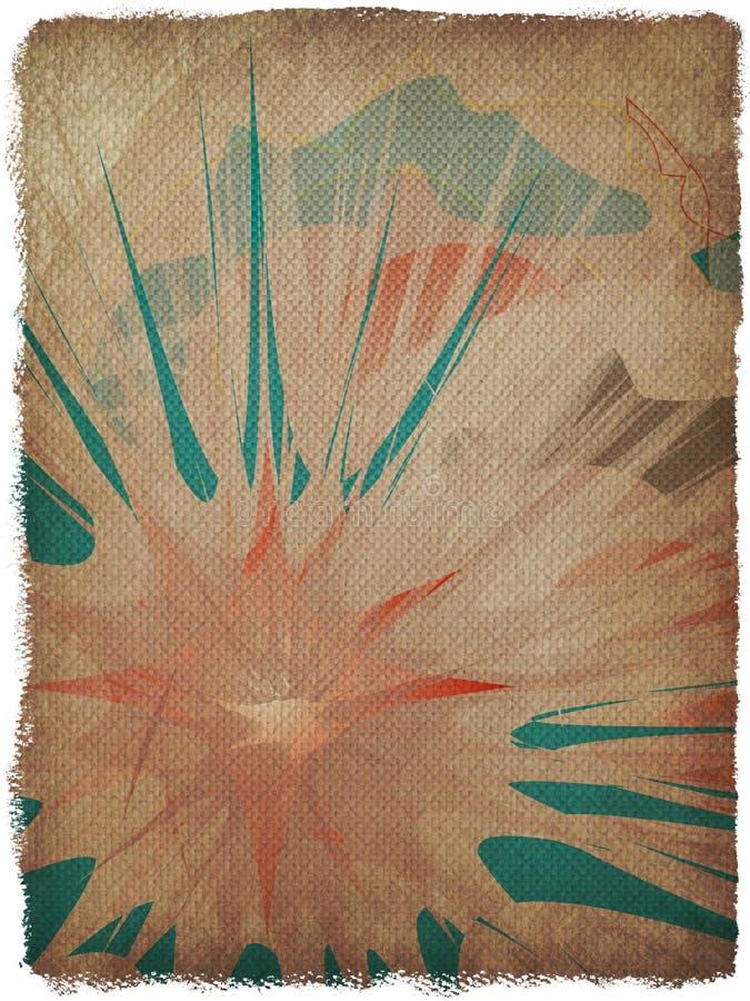 Papirusowego grunge kwiecisty tło z ramą ilustracji