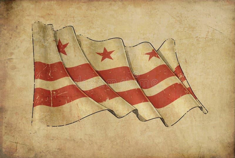 "Papirusowego tła †""flaga washington dc royalty ilustracja"